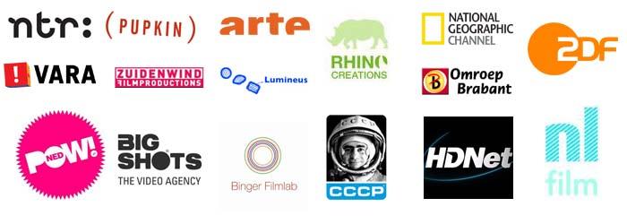Logo's NTR, Pupkin, Arte, ZDF, Rhino Creations, Nat Geo TV, VARA, Zuidenwind, Lumineus, Omroep Brabant, Powned, Bigshots, Binger filmlab, CCCP, HDnet, NL Film